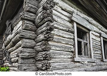 损毁, 木制, 乡村, 老, 房子