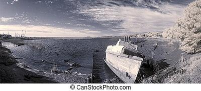 捨てられた, ボート, 現場, 赤外線, 写真