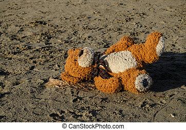 捨てられた, 概念, テディ, 暴力, -, 熊, 砂, 濫用, 子供, 単独で, depresion, 浜, ∥あるいは∥, あること