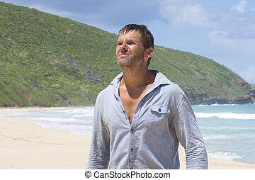 捨てられる, 浜, 失われた男