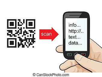 掃描, 代碼, 手冊, qr