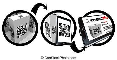 掃描, 產品, 箱子, qr, 代碼, 由于, 聰明, 電話