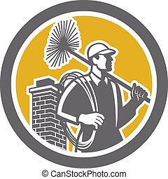 掃除人, 労働者, レトロ, 煙突