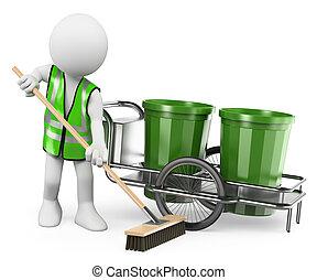 掃除人, 彼の, 仕事, ほうき, 白, 人々。, 3d