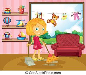 掃除, 女の子, 家, 中