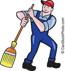 掃除, 洗剤, ほうき, 管理人, 漫画