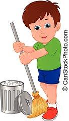 掃除, 男の子, わずかしか, 清掃