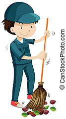 掃除, 管理人, 葉, 落ちている