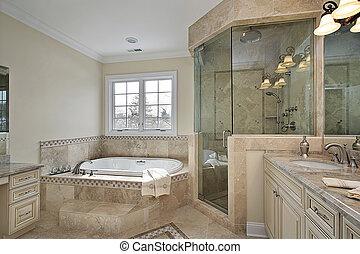 掌握, 洗澡, 由于, 大的玻璃, 陣雨