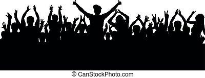 掌聲, 人群, 黑色半面畫像