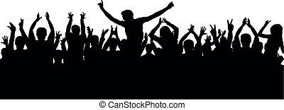 掌聲, 快樂, 人群, 黑色半面畫像