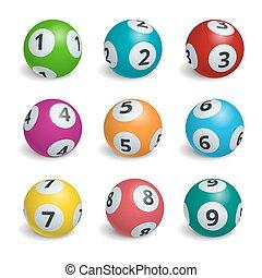 排五點紙牌, 球, 彩票, illustration., lotto, numbers., 游戲, 概念, 運气