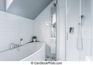 排他的, 白, 浴室