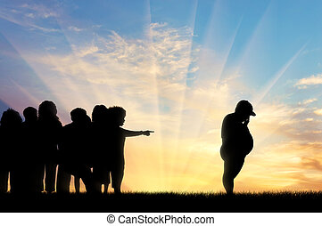 排出しなさい, 日没, 叫ぶこと, 子供, 厚く, 子供