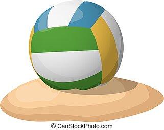排球, 上, the, sand., 矢量, 插圖