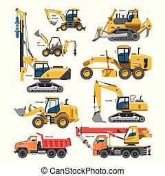 掘ること, 白, 機械, 建設的, ベクトル, 隔離された, 産業, イラスト, 坑夫, 車, 建設, 堀る, 発掘, ∥あるいは∥, シャベル, ブルドーザー, セット, 掘削機, 機械類