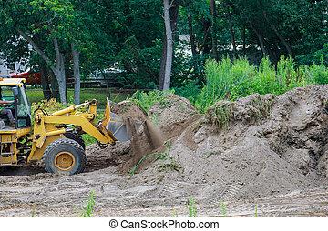 掘削機, 地球, 建設, 黄色, 色, 大さじ, 引っ越し