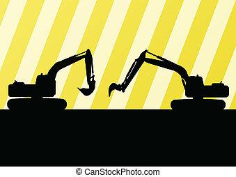 掘削機, 詳しい, シルエット, イラスト, 中に, 建築現場, 背景, ベクトル
