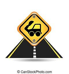 掘削機, 黄色の符号, 通り, トラック, 道