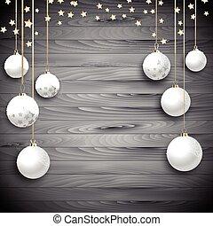 掛かること, クリスマス安っぽい飾り, 上に, a, 木製である, 背景