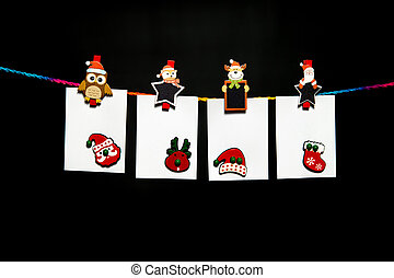 掛かること, 白, ペーパー, シート, 上に, カラフルである, ロープ, ∥で∥, クリスマス, 主題, ペーパークリップ, そして, クリスマスの 装飾