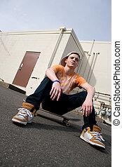 掛かること, skateboarder, から