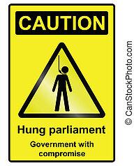 掛けられた, 議会, 危険標識