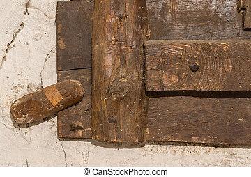 掛け金, 古い, 木製の戸, 錠