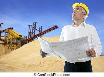 採石場, 専門知識, 計画, 建築家, シニア, エンジニア