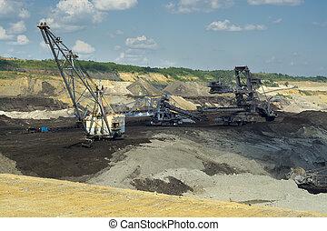 採礦, 挖掘機, -, 礦, 機器, 煤炭