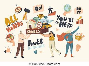 探しなさい, concept., 成長, あなたの, すべて, 手, リーダーシップ, 成功, 子供, ゴール, 達成, dreams., 具体化しなさい, 特徴, 技能