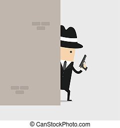 探偵, の後ろ, 銃, 保有物, wall.