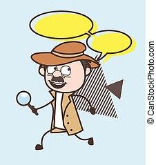 探偵, イラスト, 動くこと, ベクトル, スピーチ泡, 漫画