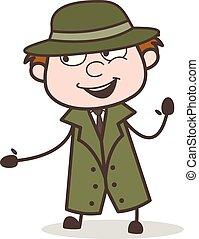 探偵, イラスト, 顔, 朗らかである, ベクトル, 表現, 漫画