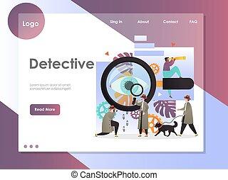 探偵, ウェブサイト, 着陸, ベクトル, デザイン, テンプレート, ページ