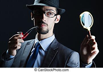 探偵, パイプ, 拡大鏡