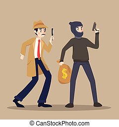 探偵, ブラウン, 別, 特徴, 泥棒, 背景