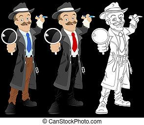 探偵, ベクトル, 特徴, 漫画