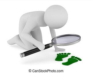 探偵, 勉強する, traces., 隔離された, 3d, 白 の イメージ