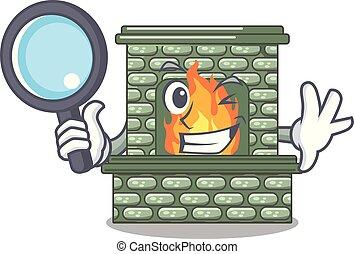 探偵, 家, 暖炉, 漫画