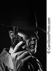 探偵, 暗い, 銃, 保有物