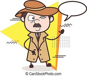 探偵, 目, イラスト, ベクトル, スピーチ, まばたき, 泡, 漫画
