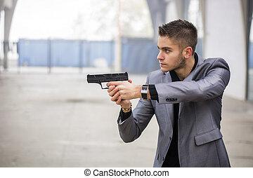 探偵, 警官, 火器, ギャング, 狙いを定める, ∥あるいは∥