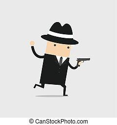 探偵, 走った, 手。, 彼の, 銃