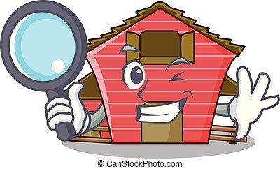探偵, a, 赤い納屋, 家, 特徴, 漫画