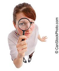 探偵, magnifier, 女, 深刻
