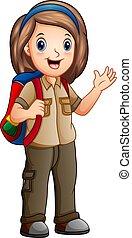 探検家, 女の子, 衣装, バックパック