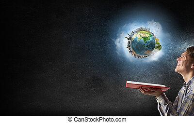 探検, のまわり, 私達, 世界