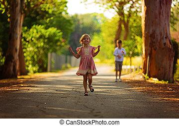探検, 屋外で, 遊び, 子供, 自然