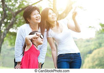 探検, outdoor., 母, 娘, 祖母